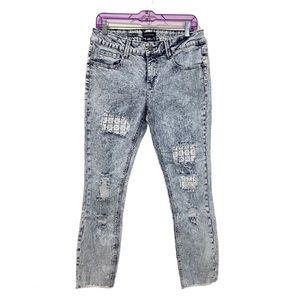 RAMPAGE Sophie Acid Wash Distressed Cropped Jeans